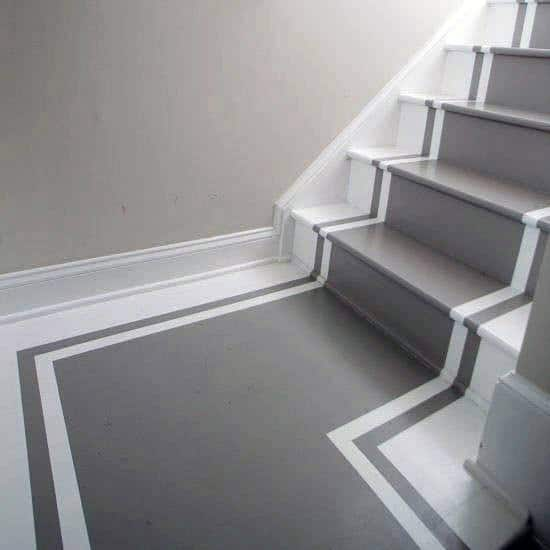 Cool Painted Stairs Design Ideas Grey And White