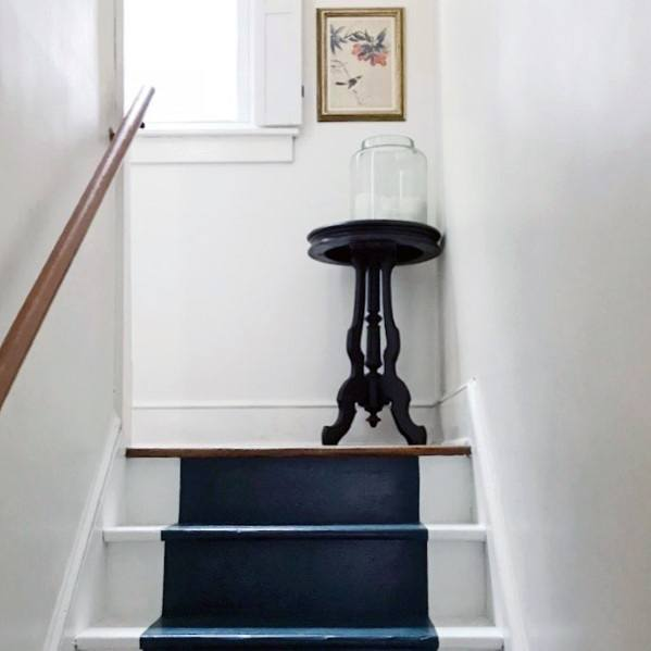 Cool Painted Stairs Navy Stripe In Middle