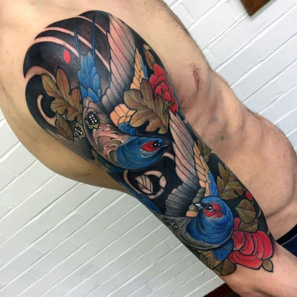 Cool Pair Of Birds With Colored Wing Tattoo Guys Full Sleeves
