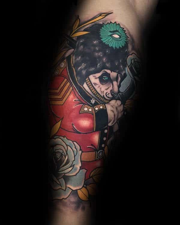 Cool Panda Solidier Mens Leg Tattoo Designs