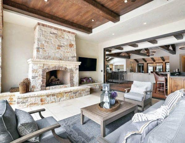 Cool Patio Ceiling Wood With Wooden Beams