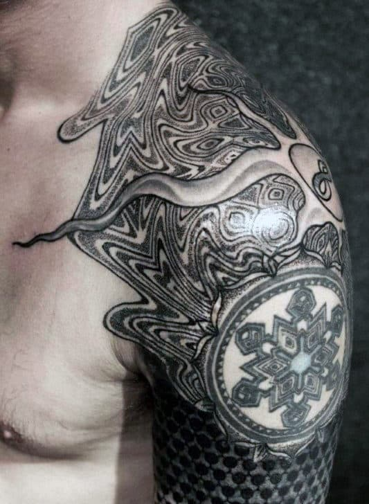 Cool Pattern Guys Factal Sleeve And Shoulder Tattoos