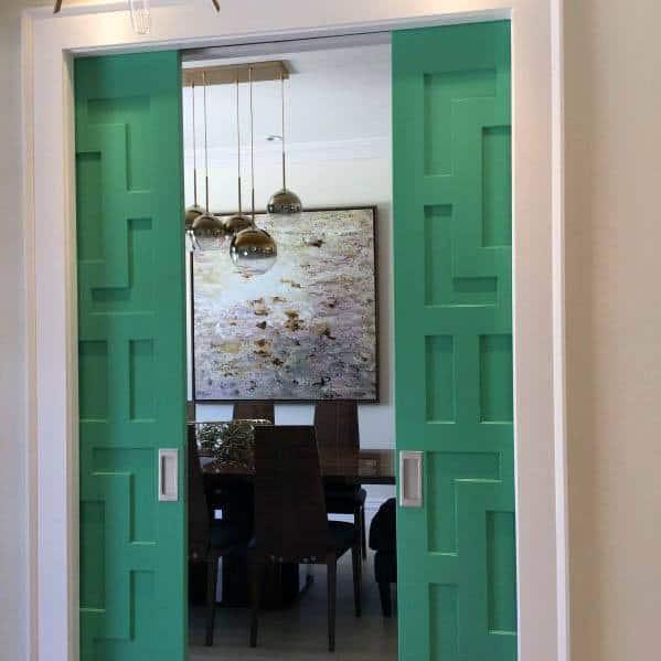 Cool Pattern Wood Green Pocket Door