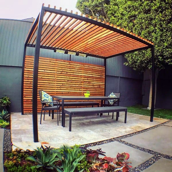 Cool Pergola Ideas Wood Slats With Metal Design