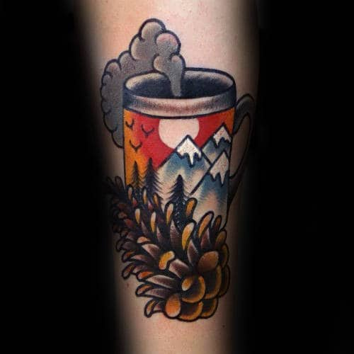 Cool Pine Cone With Coffee Mug And Mountains Mens Old School Forearm Tattoo