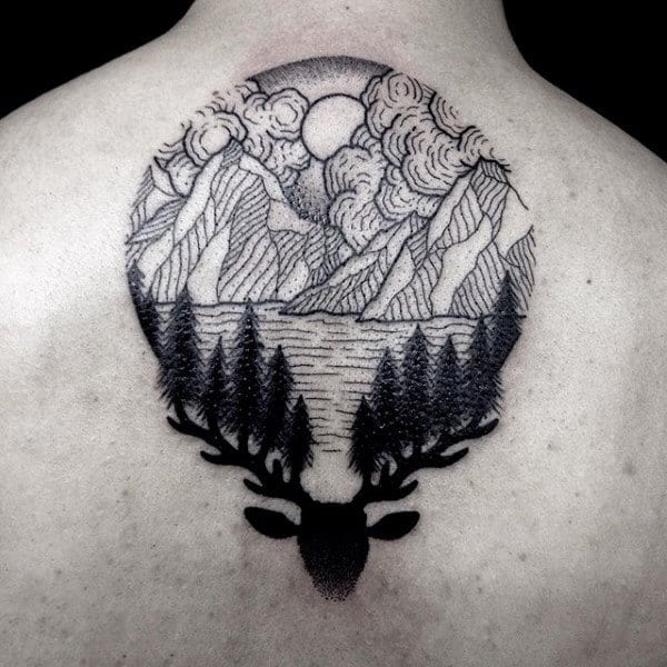 Cool Pine Tree Deer And Mountain Male Upper Back Tattoos