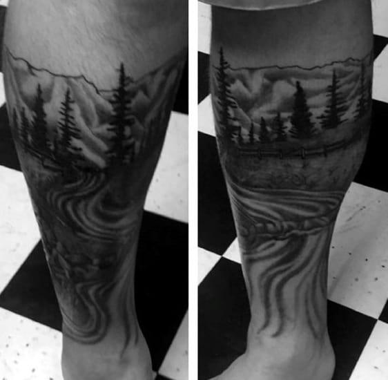 Cool Pine Trees Tattoos For Males On Lower Leg
