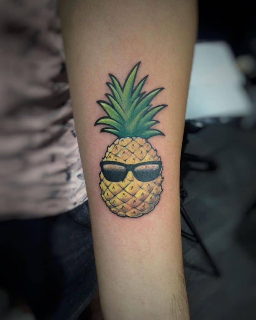 Cool Pineapple Small Fresh Tattoo