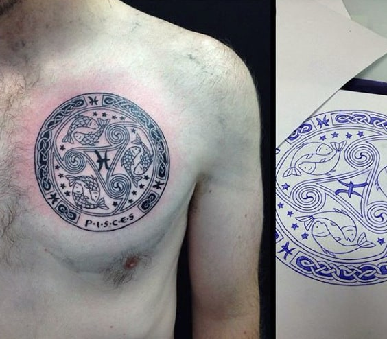 Cool Pisces Themed Mens Circle Upper Chest Tattoos