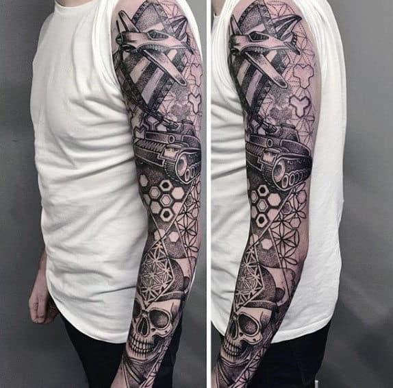 Cool Pointillism Male Sleeve Tattoo Ideas