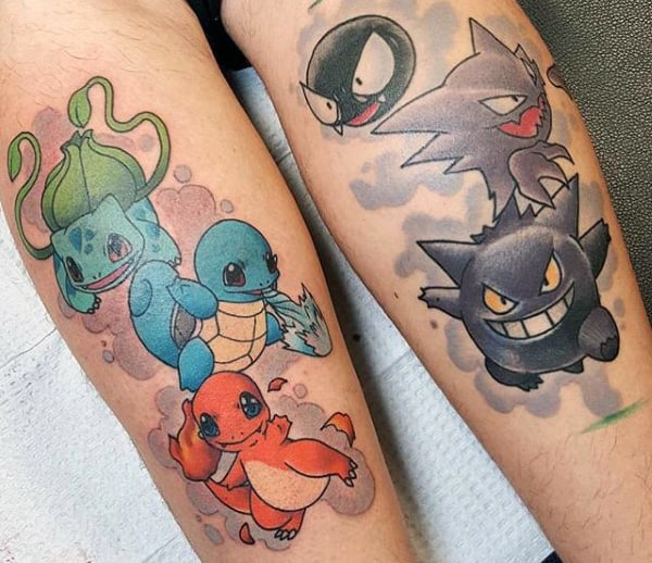 Cool Pokemon Characters Mens Leg Tattoos