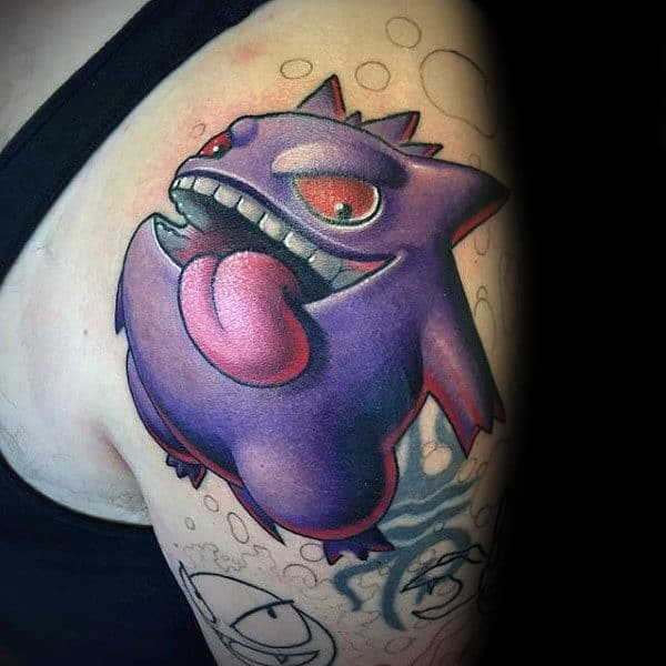 Cool Pokemon Hengar Male Upper Arm 3d Tattoo Designs