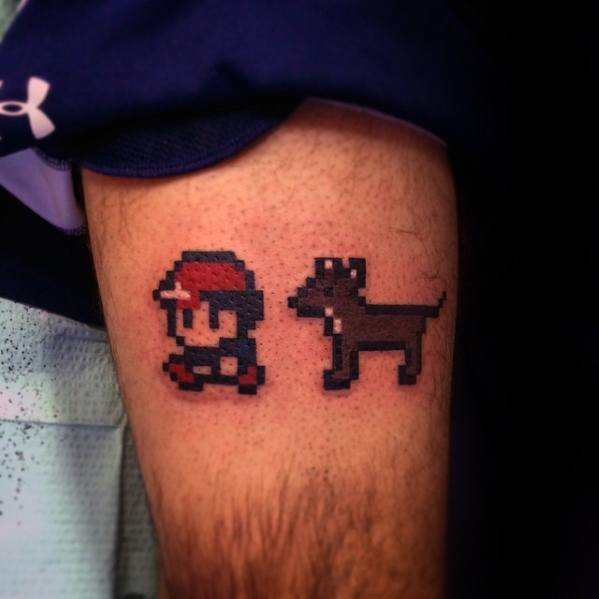 Cool Pokemon Male 8 Bit Thigh Tattoos