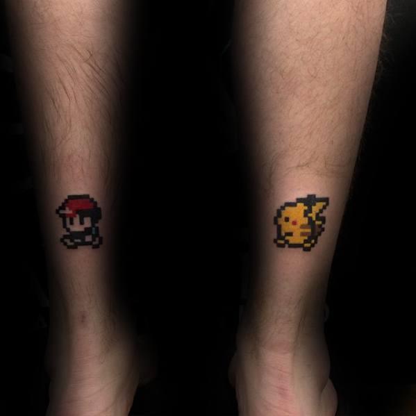 Cool Pokemon Small Guys Back Of Leg 8 Bit Tattoos