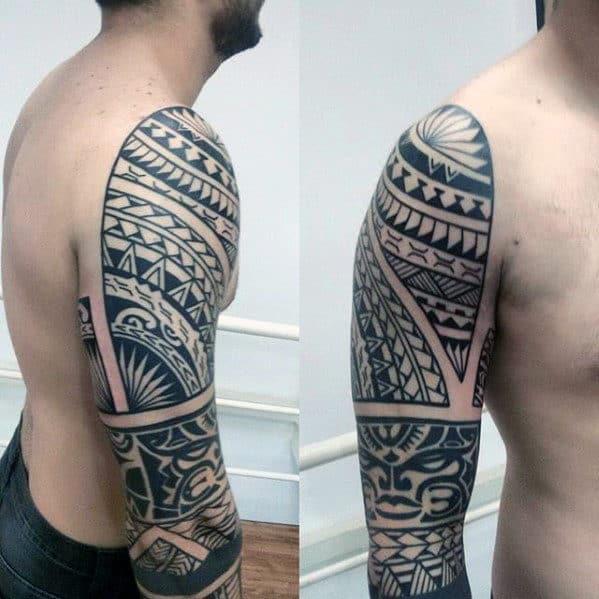 Cool Polynesian Arm Mens Tribal Tattoos
