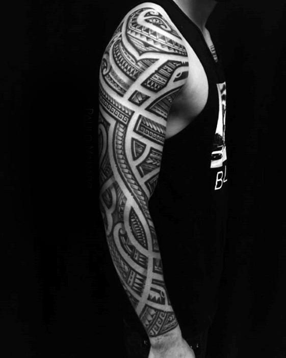 Male Maori Tribal Tattoos Full Body: 50 Polynesian Arm Tattoo Designs For Men