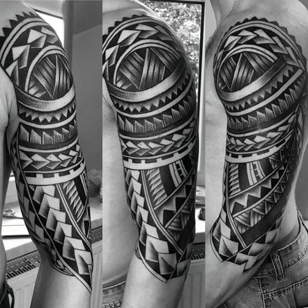 Cool Polynesian Guys Half Sleeve Tribal Tattoo Ideas