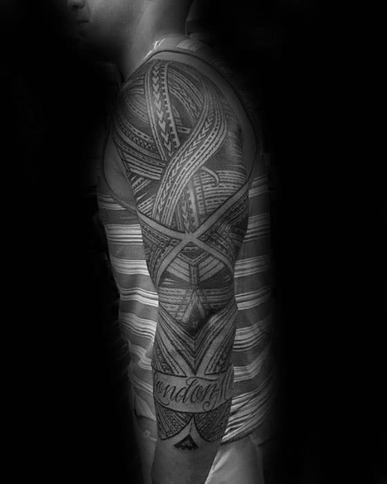 Cool Polynesian Male Tribal Sleeve Tattoo With Black Ink Design