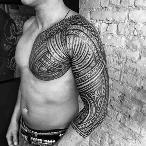 Cool Polynesian Male Tribal Tattoo Sleeve