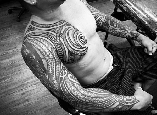 Cool Polynesian Tribal Chest Tattoo Ideas For Gentlemen