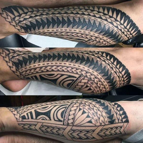 Cool Polynesian Tribal Male Leg Tatto Ideas