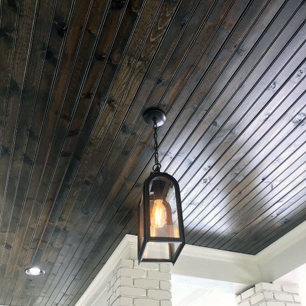 Cool Porch Ceiling Design Ideas Dark Brown Stained Wood