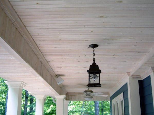Cool Porch Ceiling Unstained Wood