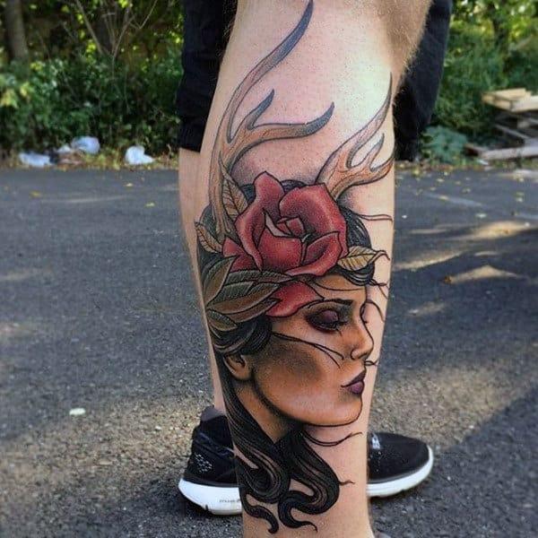 Cool Portrait Antler Leg Tattoo On Man