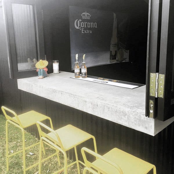 Cool Pub Shed Bar With Window And Concrete Table
