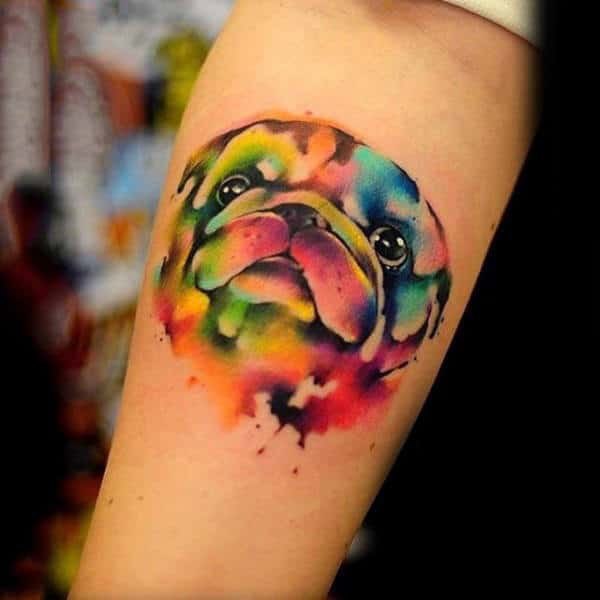 Cool Pug Watercolor Dog Tattoo For Guys