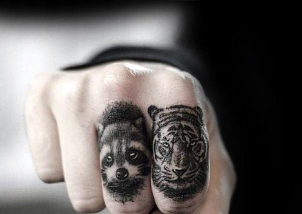 Cool Raccoon Finger Tattoos For Guys