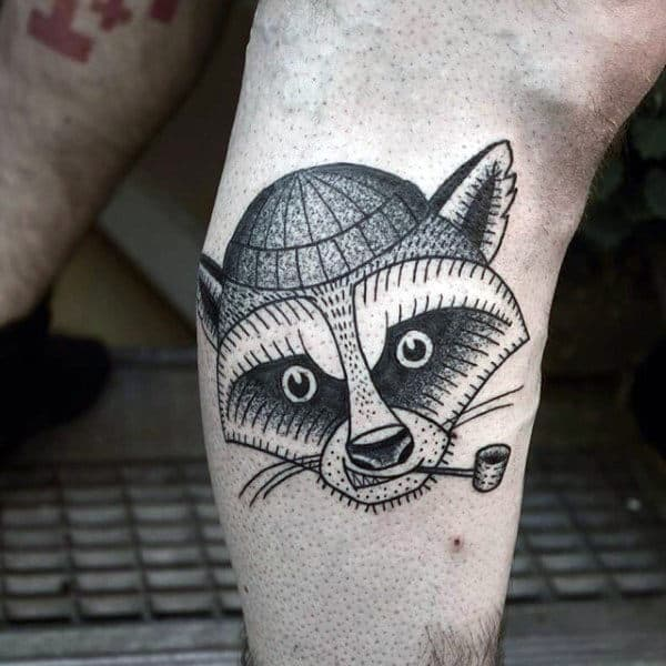 Cool Raccoon With Pipe Mens Small Leg Tattoo Ideas