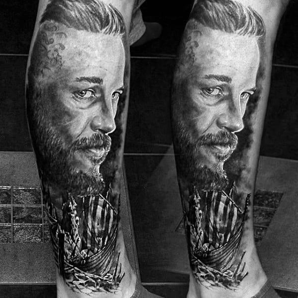 Cool Ragnar Vikings Tattoo Design Ideas For Male Leg