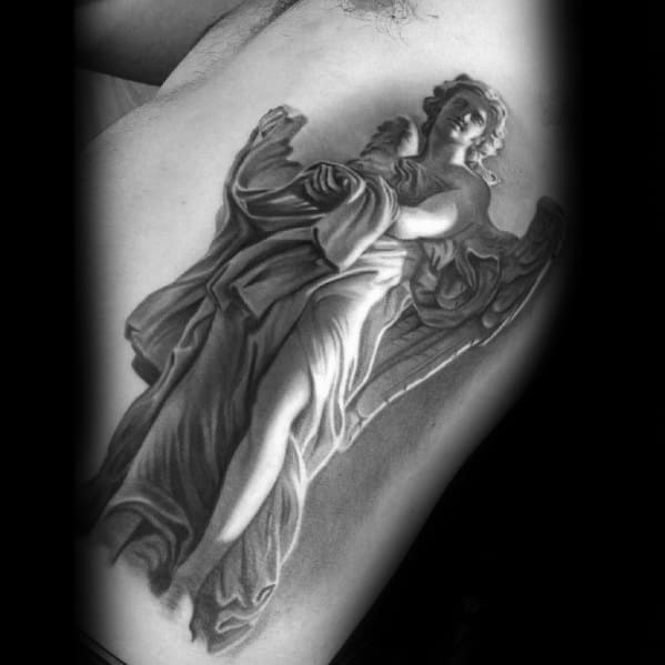 Cool Realistic 3d Angel Statue Tattoo Design Ideas For Male On Rib Cage Side