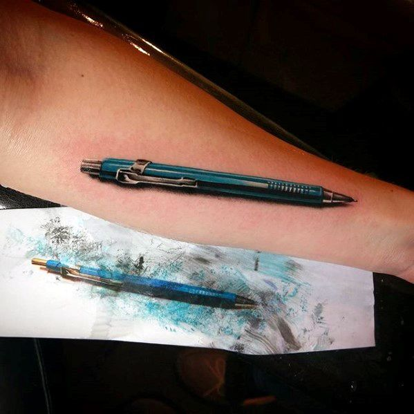Cool Realistic 3d Inner Forearm Mechanical Pencil Tattoo Design Ideas For Male
