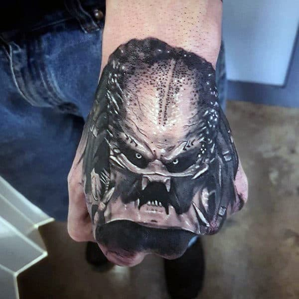 Cool Realistic Alien Vs Predator Mens 3d Hand Tattoos
