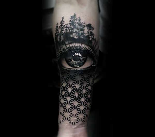Cool Realistic Eye With Geometric Pattern Design For Men