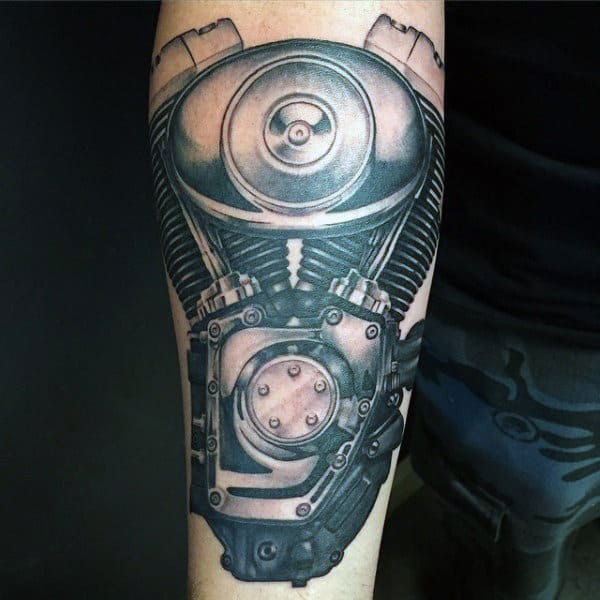 Cool Realistic Harley Davidson Motor Guys Arm Tattoo
