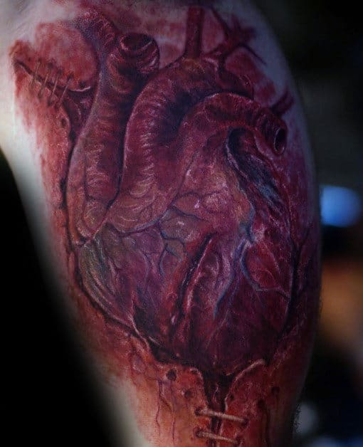 Cool Realistic Mens Arm Torn Skin Heart Tattoo