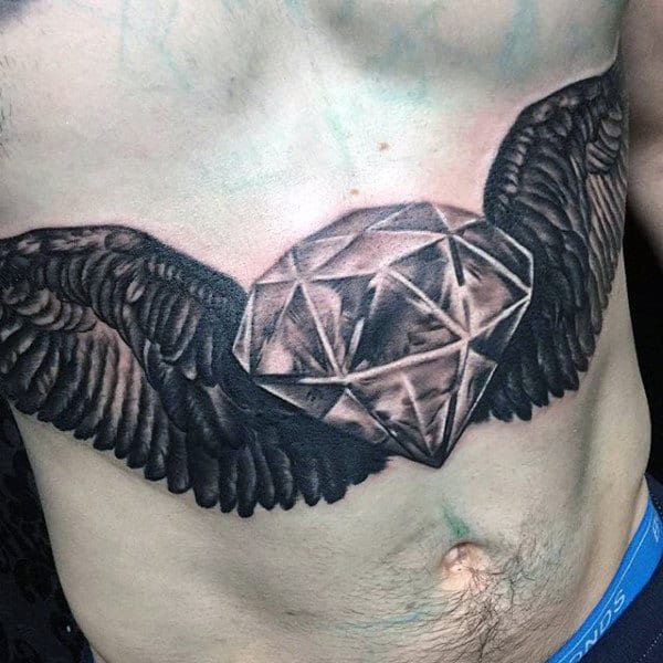 Cool Realistic Mens Diamond With Wings Stomach Tattoos