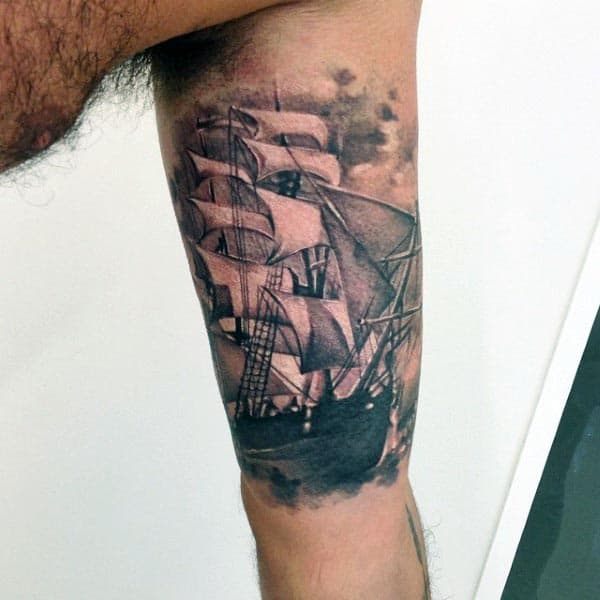 Cool Realistic Sailing Ship Guys Arm Tattoo Ideas