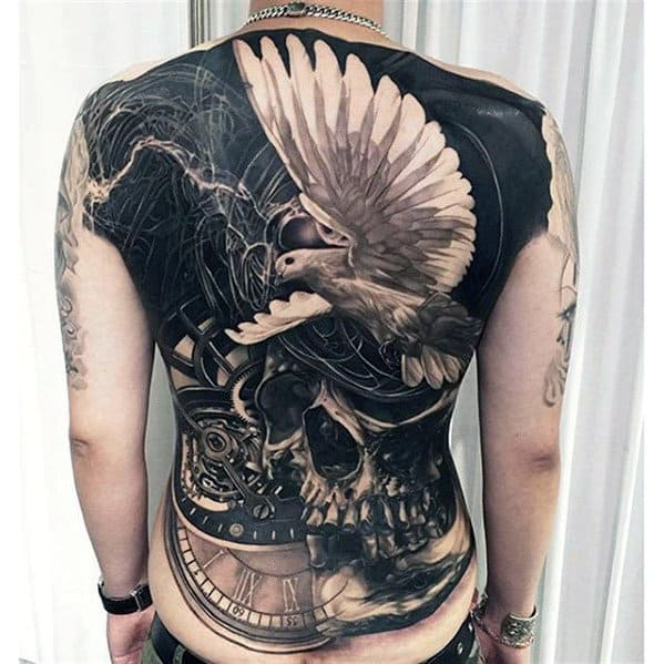 Cool Realistic Skull With Flying White Dove Full Back Tattoo For Men