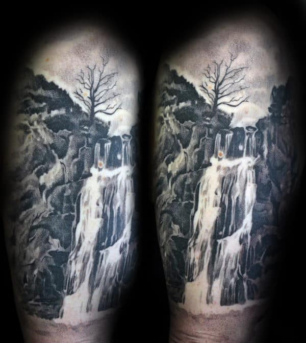 Cool Realistic Waterfall Mens Black And Grey Shaded Half Sleeve Tattoo