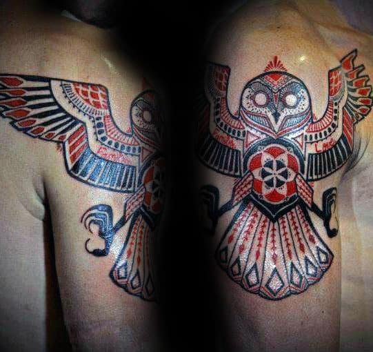 Cool Red And Black Ink Ornate Tribal Owl Guys Arm Tattoo