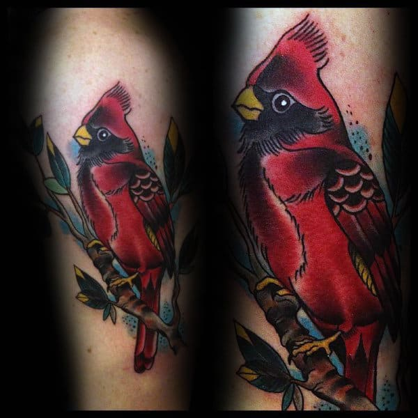 Cool Red Ink Cardinal Bird On Tree Branch Male Tattoo Ideas
