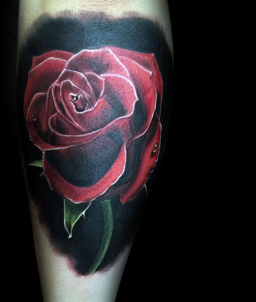 Cool Red Ink Realistic Rose Flower Male Tattoos