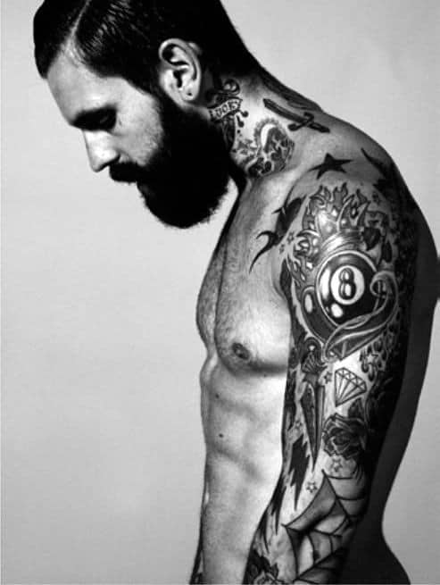 Cool Retro 8 Ball Sleeve Tattoo On Man With Traditional Design