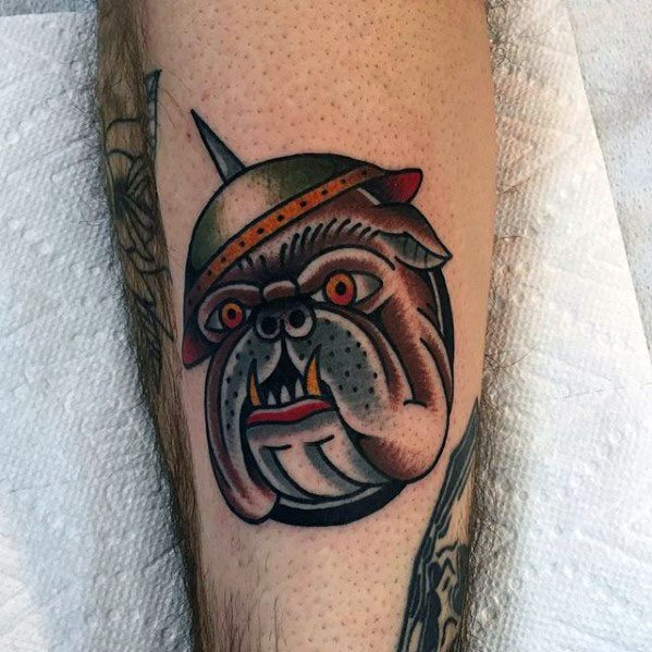 Cool Retro Bulldog Traditional Guys Forearm Tattoos