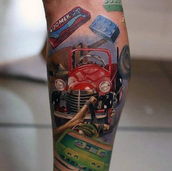 Cool Retro Car Boomer Blocks Tattoo Guys Ankles