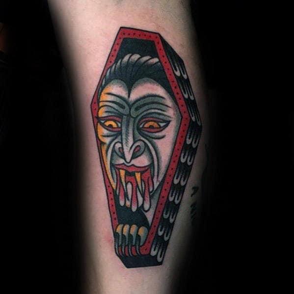 Cool Retro Dracula Coffin Mens Traditional Forearm Tattoo